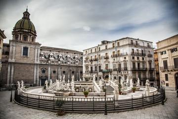 Sicily pretoria square, in the center of the city palermo