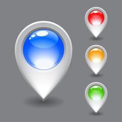 Set of white map pointer icon.