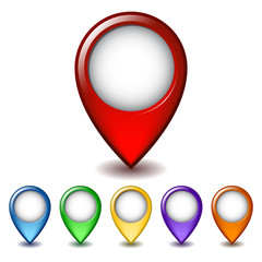 Set of bright map pointer icon.