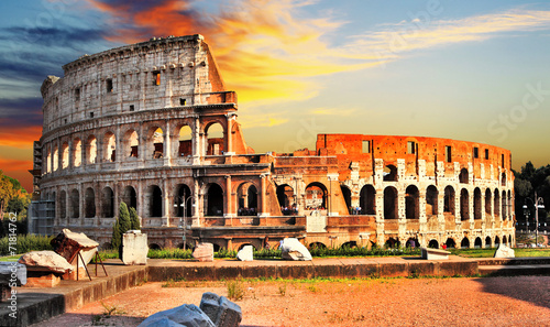 Foto op Canvas Rome great Colosseum on sunset, Rome