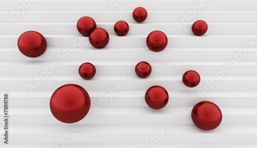 Fototapeta Red spheres on stairs concept