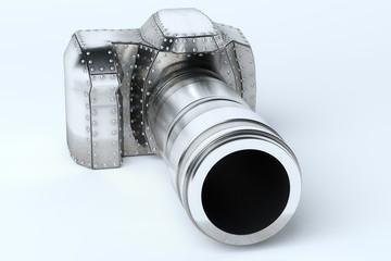 Conceptual Metal (Platinum) Photo Camera Perspective View