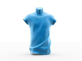 Blue man figurine rendered isolated on white