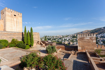 View of  Granada from a wall of fortress of Alhambra