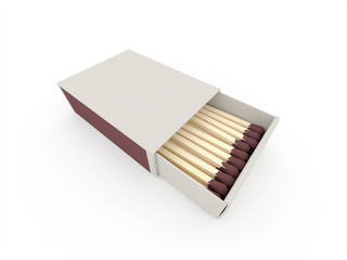 Matches on matchbox rendered isolated