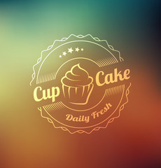 Cupcake food label over blurred background