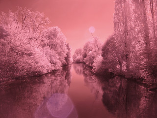 Infrared photography. A view of Padua, Italy.