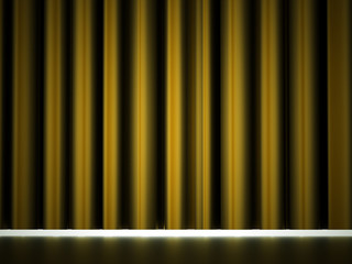 Yellow curtain drapes
