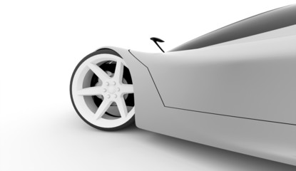 Silver sport car rendered on white