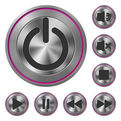 Metallic Icons Media Player Pink
