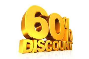 3D render gold text 60 percent discount.