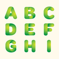 abstract vector green leaves eco font set of letters
