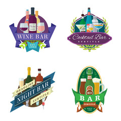 vector wine beer cocktail bar logo labels badges set