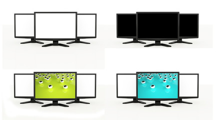LCD TV screens rendered isolated on white