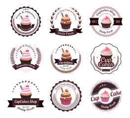 Vintage retro cupcakes bakery badges and labels
