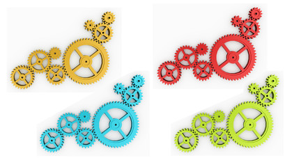 Gears concept colored isolated on white