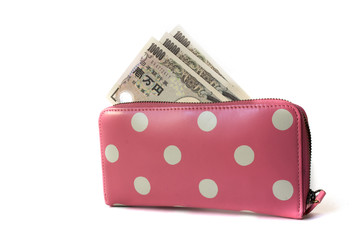 Japanese banknote in woman wallet pink dot isolated on wihte bac
