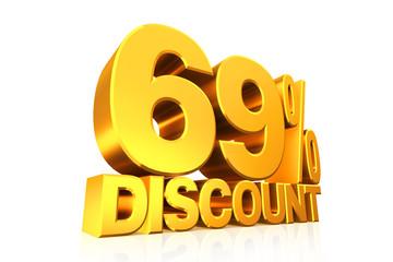 3D render gold text 69 percent discount.