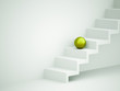 Green sphere on stairs
