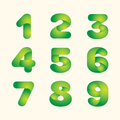 abstract vector green leaves eco font set of numbers