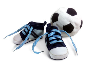 Blue baby sneakers with a ball on white