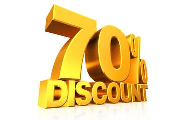 3D render gold text 70 percent discount.