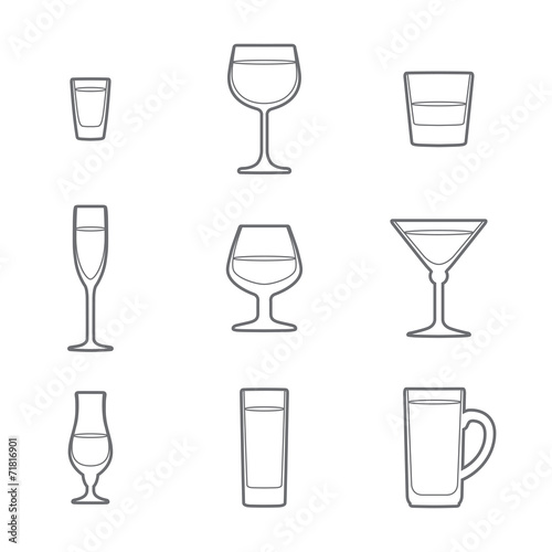vector grey outline alcohol glasses icon set - 71816901