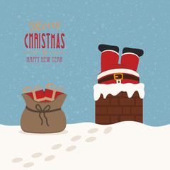 santa stuck in chimney gift bag snow background