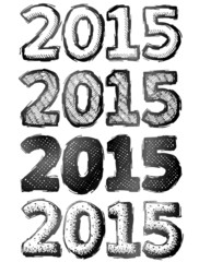 Hand drawn New Year 2015. Sketch of year number in doodle style