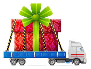 Road transportation of gift box. Big gift in back of truck