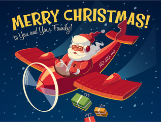 Santa on the plane. Christmas card