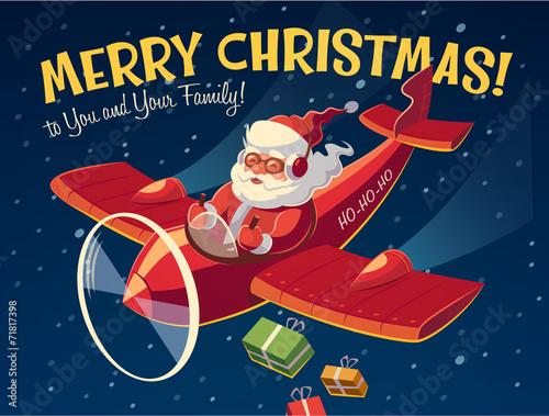Santa on the plane. Christmas card - 71817398