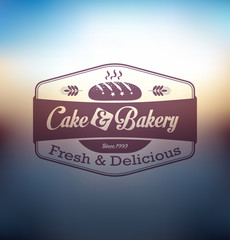 Cake and bakery food label over blurred background