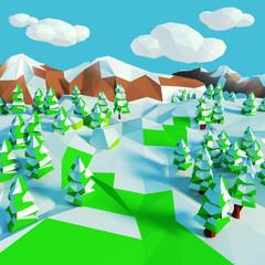 Kleine Schneelandschaft mit Tannen