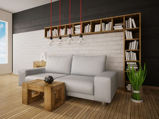 3d illustration interior