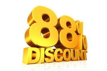 3D render gold text 88 percent discount.