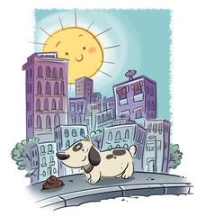 perro en la ciudad