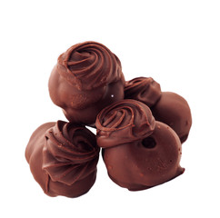 chocolate candies against white background