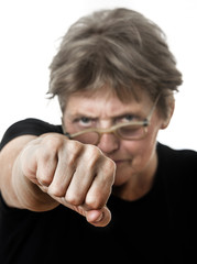 old woman face and fist - social problems