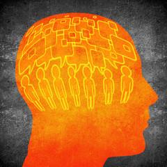 too much speaking concept digital illustration orange on black