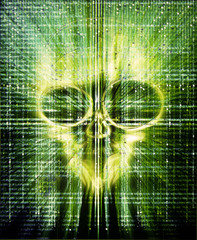 high quality hacker attak digital illustration with skull