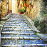 charming  old streets of  medieval villages of Italy - 71818365