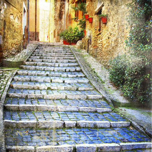 Fototapeta charming old streets of medieval villages of Italy
