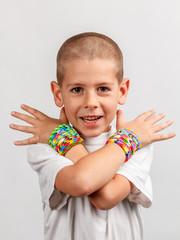 Kid wearing bracelets