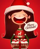 Fototapety Child's greeting. Christmas card