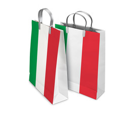 Two Shopping Bags opened and closed with Italy flag. Retail busi