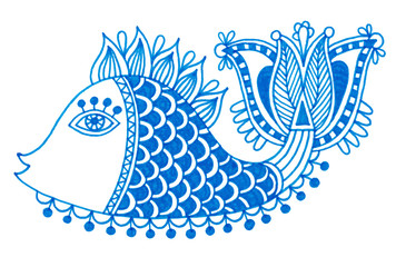 marker drawing of decorative doodle fish