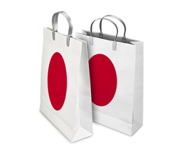 Two Shopping Bags opened and closed with Japan flag. Retail busi