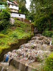 Garbage and rubbish polluting the water in Darjeeling, India