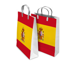 Two Shopping Bags opened and closed with Spain flag. Retail busi